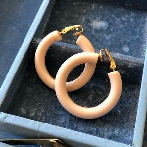 Vintage Plastic Cream Clip On Earrings